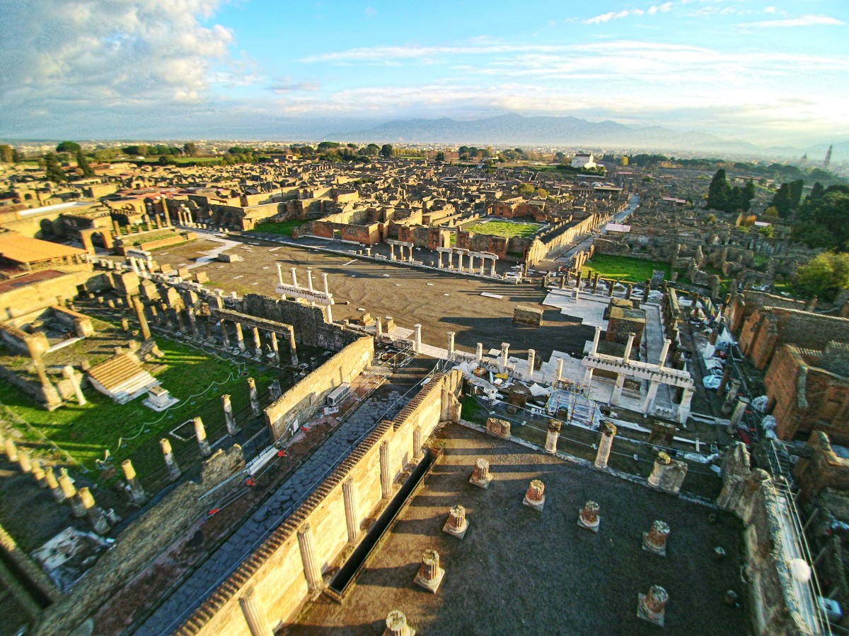 Forum of Pompeii, seen from above the Basilica with a drone photograph by ElfQrin