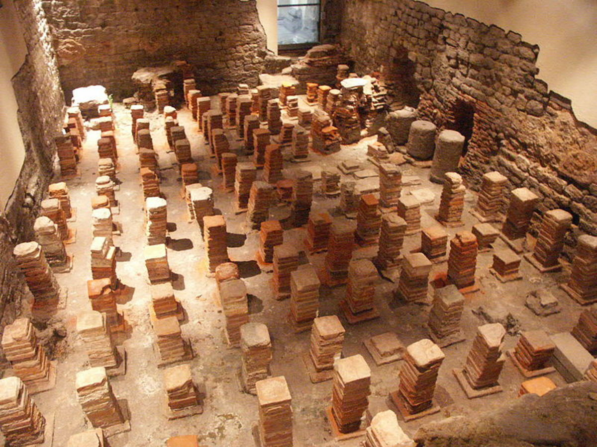 Caldarium from the Roman Baths at Bath, England. The floor has been removed to reveal the empty space where the hot air flowed through to heat the floor.