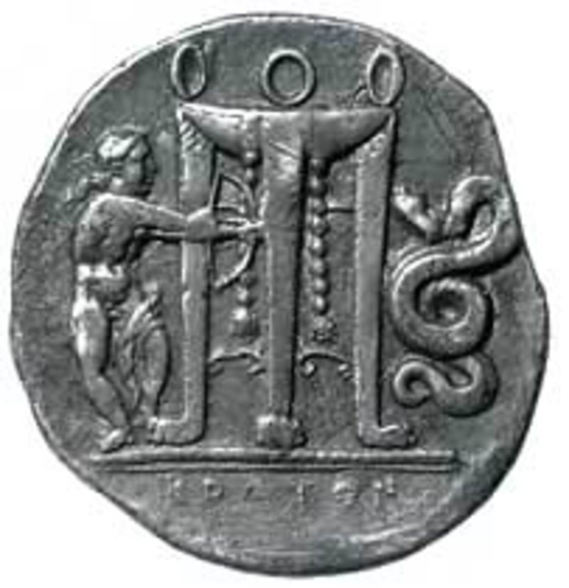 Pythia depicted on an ancient coin