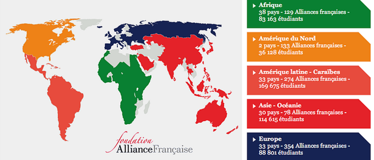 A map of Alliances françaises in the world
