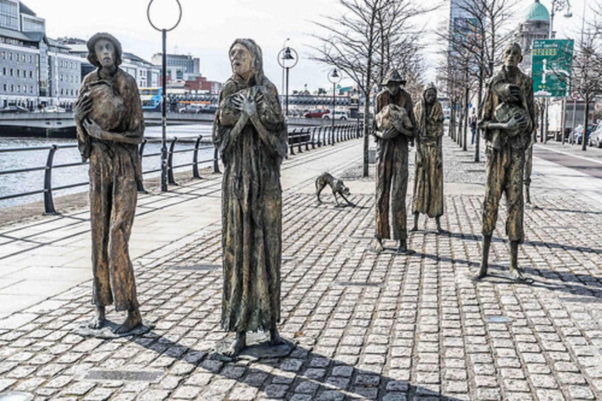 A memorial to the victims of the famine in Dublin.