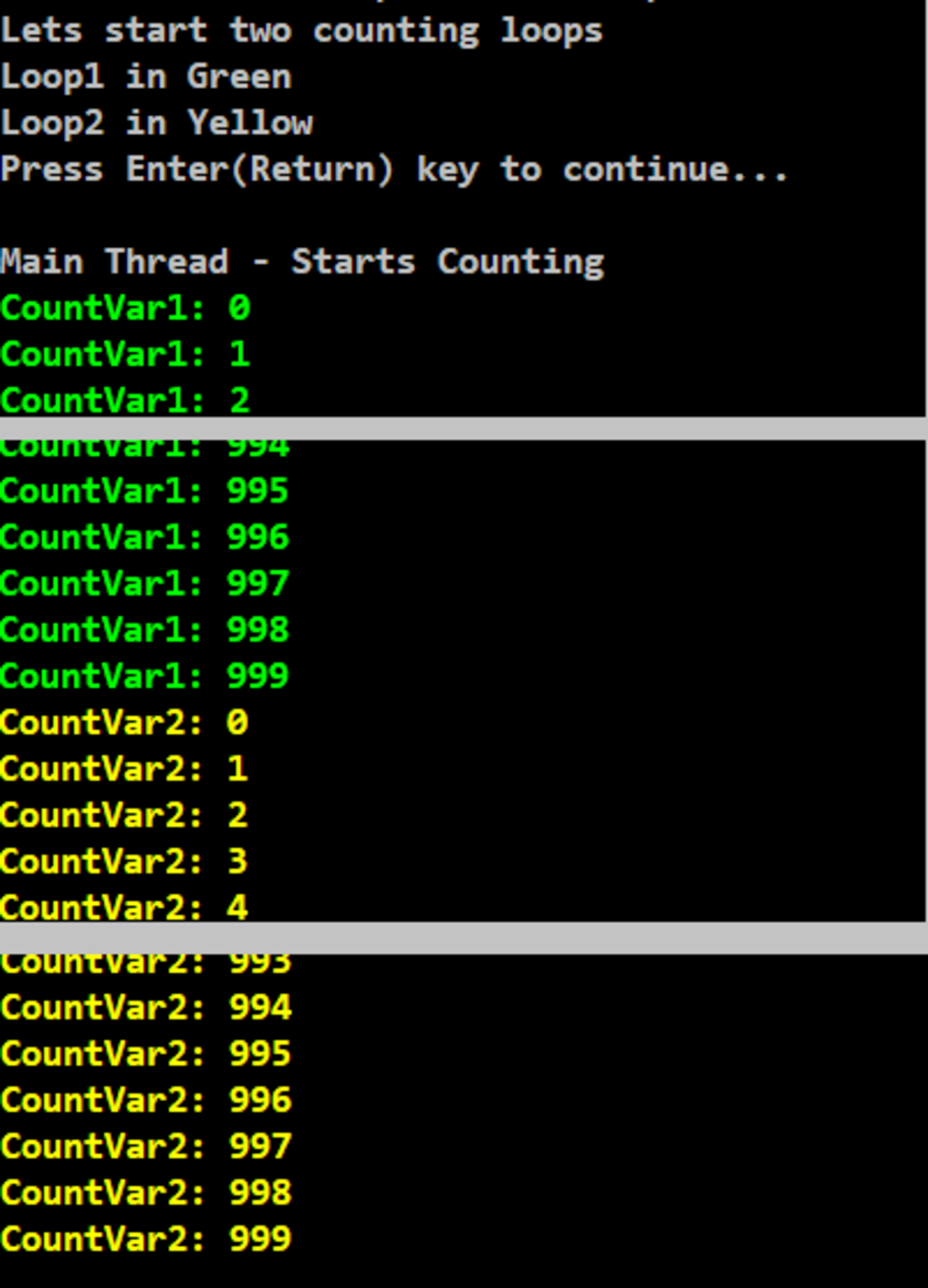 Program Output: Loop Counting without Thread