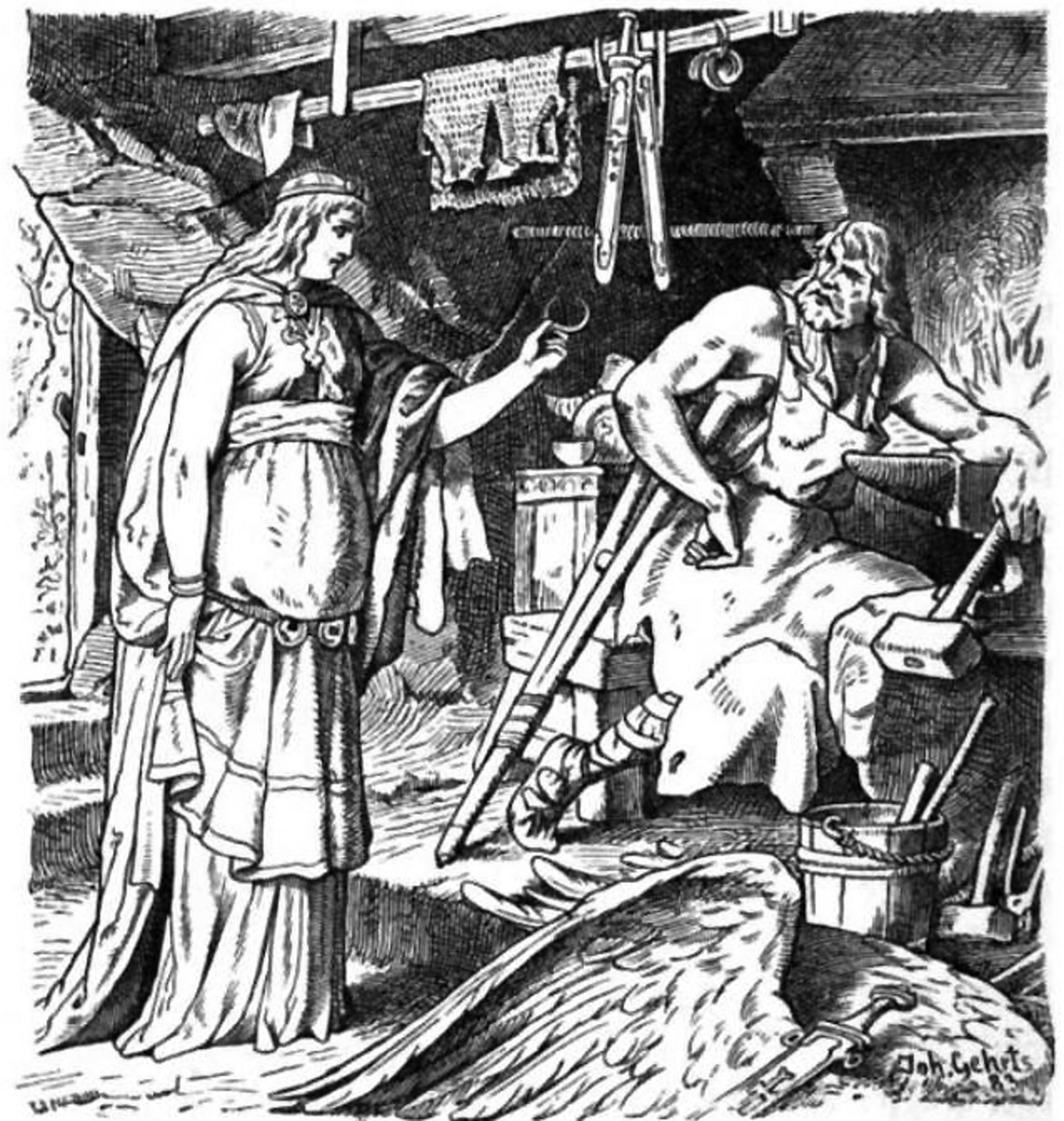 Badhild in Wayland's Smith (Johannes Gehrts 1901) -- notice Wayland's crutches from being hobbled.