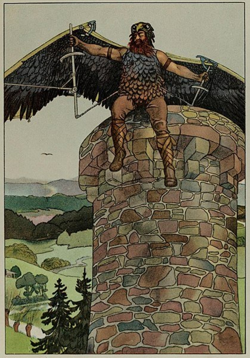 Wayland the Smith, Wearing the Wings he had Fashioned (Logan Marshall 1914)