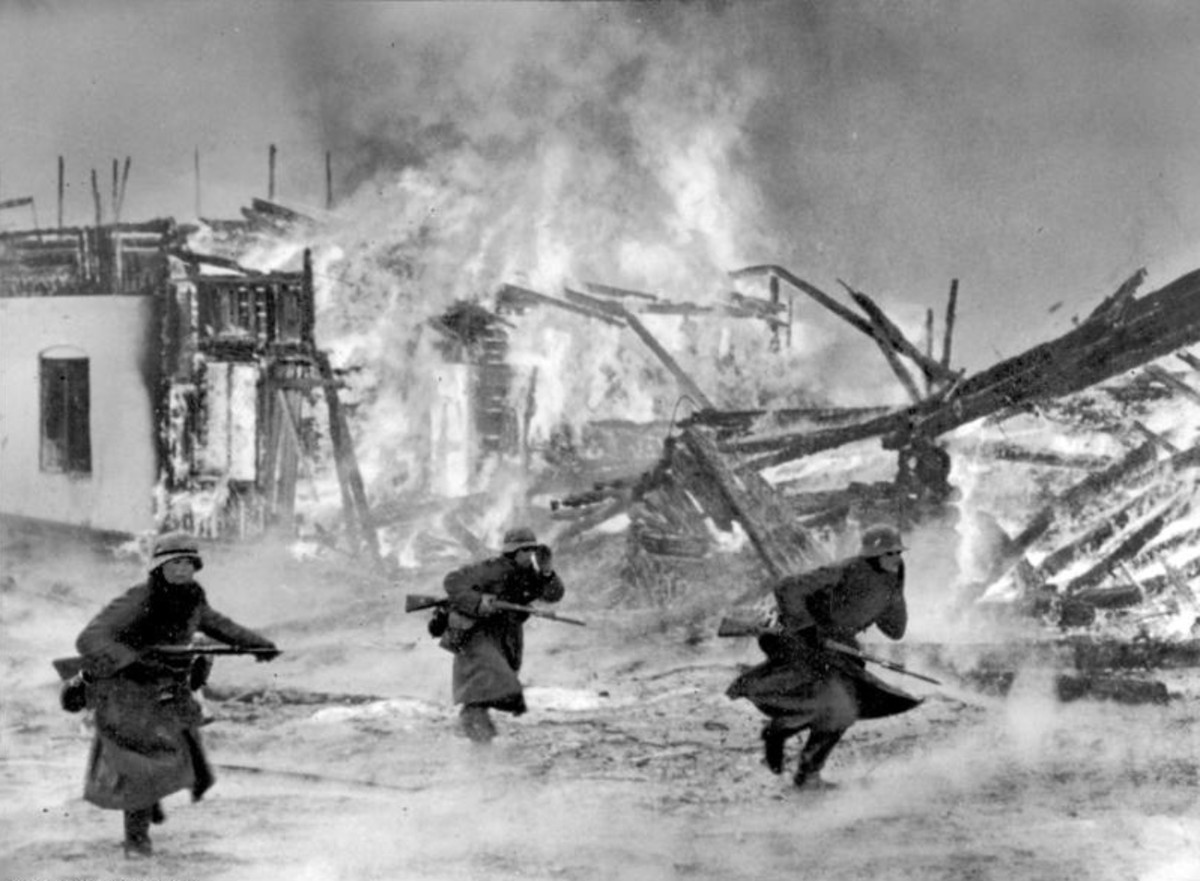 German troops attacking in Norway.
