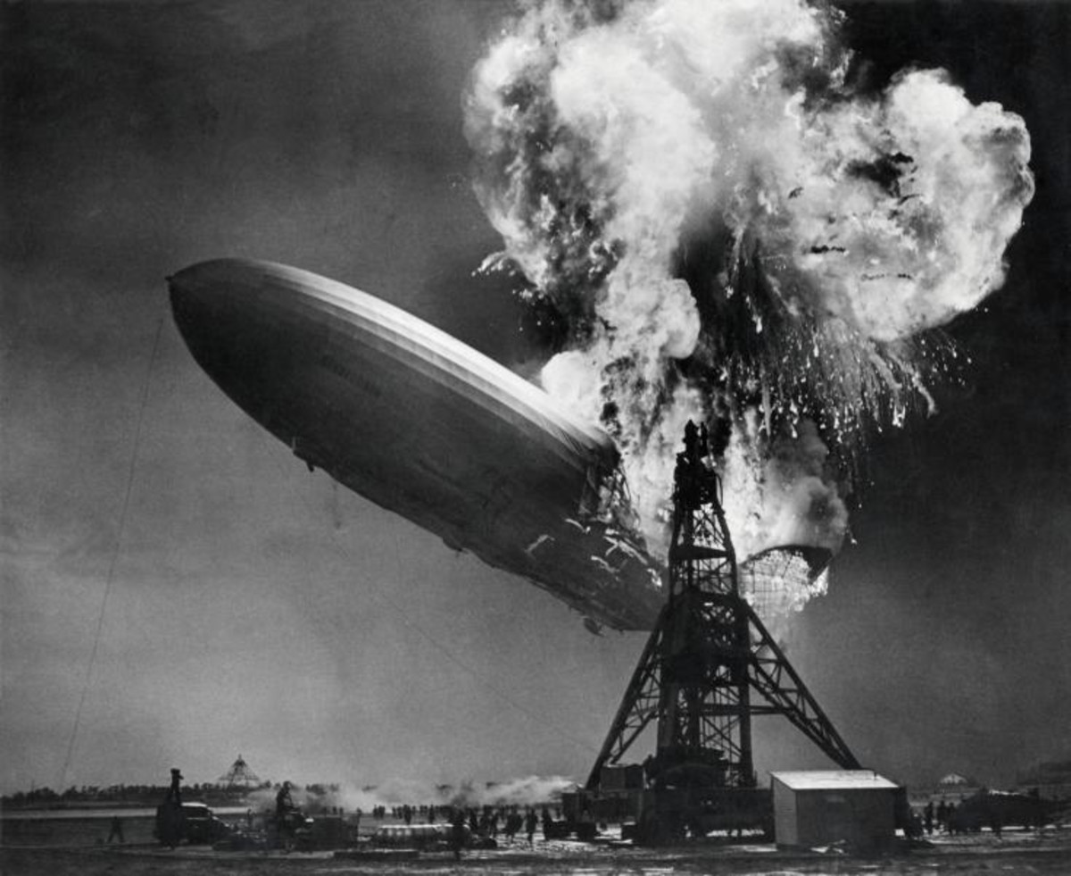 The spectacular explosion of the Hindenburg airship at Lakehurst.