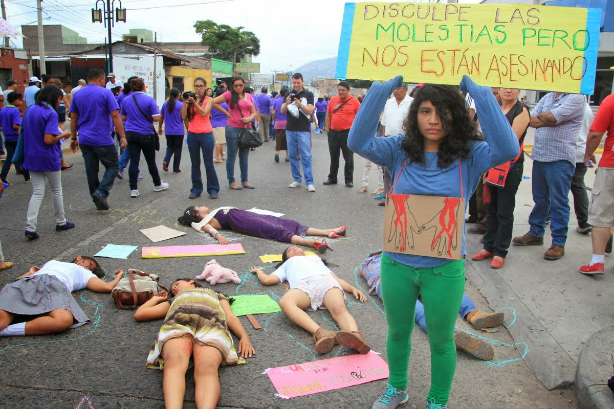 Honduras has one of the highest murder rates in the world. Femicide, murder of women, is especially prevalent here, as noted in this street protest.