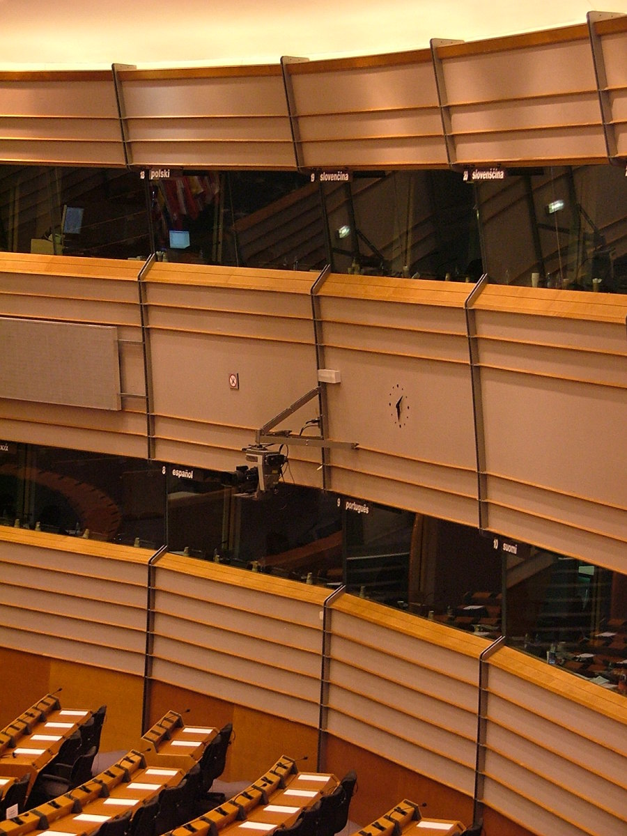 Interpretation booths in the European parliament.