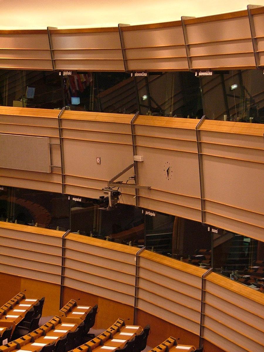 Interpretation booths in the European parliament.