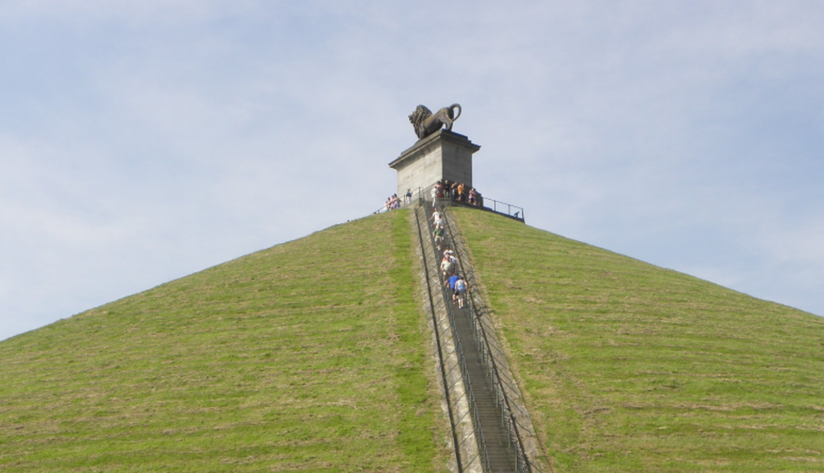 The Mount on the Battle Field of Waterloo, with Lion Statue