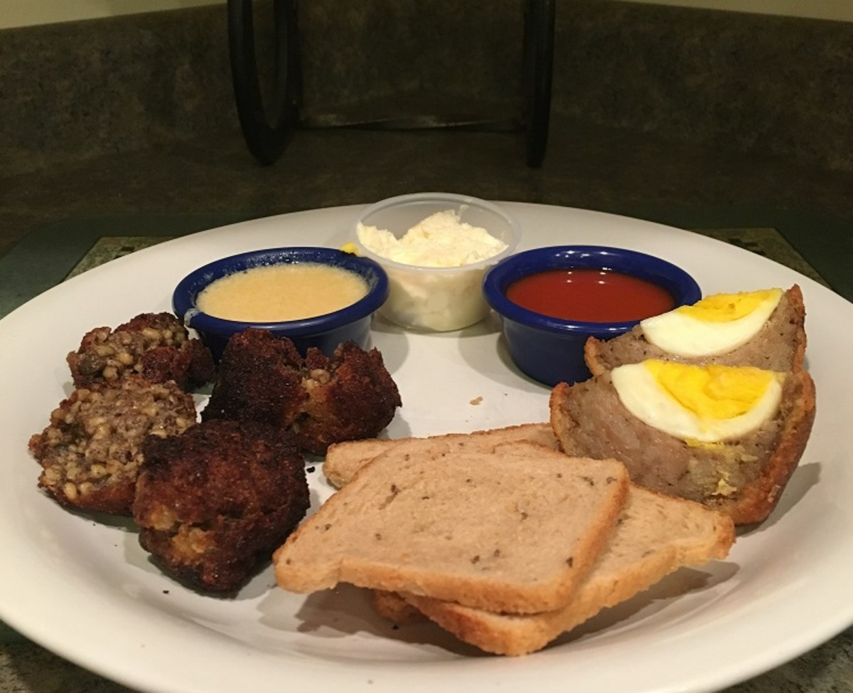 Robbie Burns Day Dinner 2018 -- fried haggis balls, Scotch eggs, and whole grain bread.