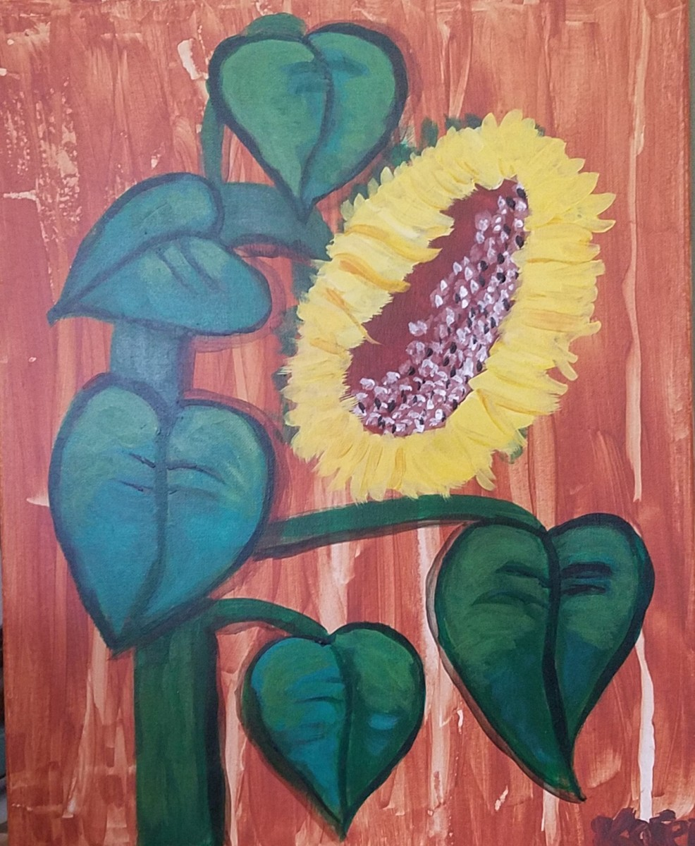 A sunflower painted by the author of this hub in July 2017