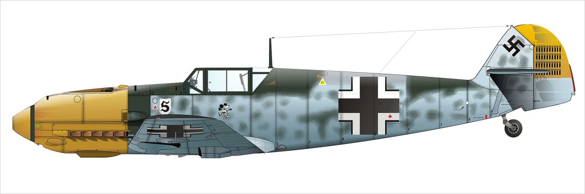 An illustration of Adolph Galland's Bf 109 including the Mickey Mouse emblem.