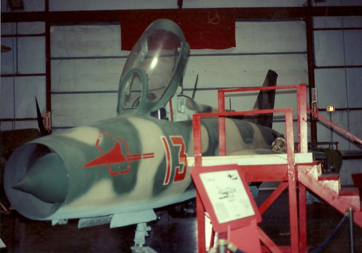 A MiG-21 in Soviet Air Force markings at the Paul E. Garber facility, circa 1992.