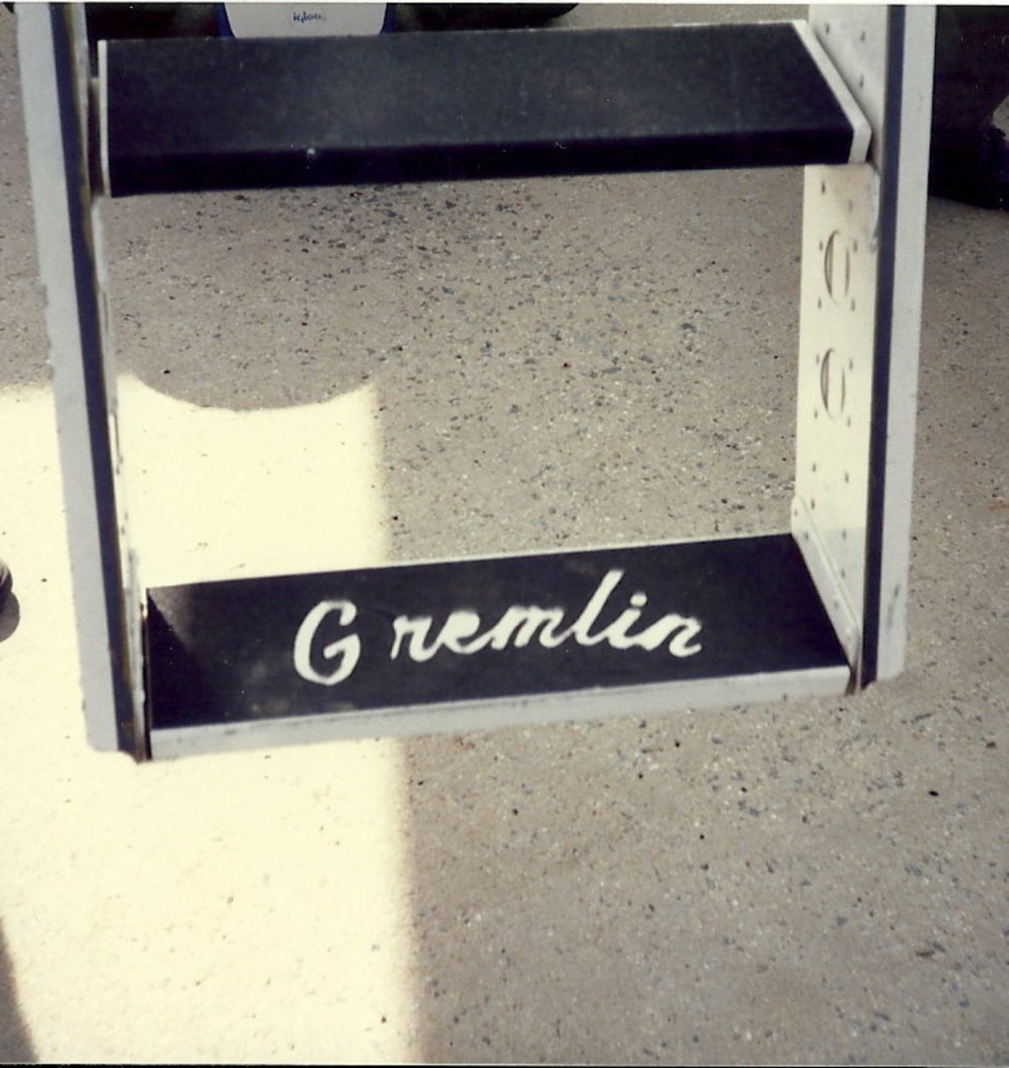 "The ladder of the B-1B nicknamed ""Gremlin""."