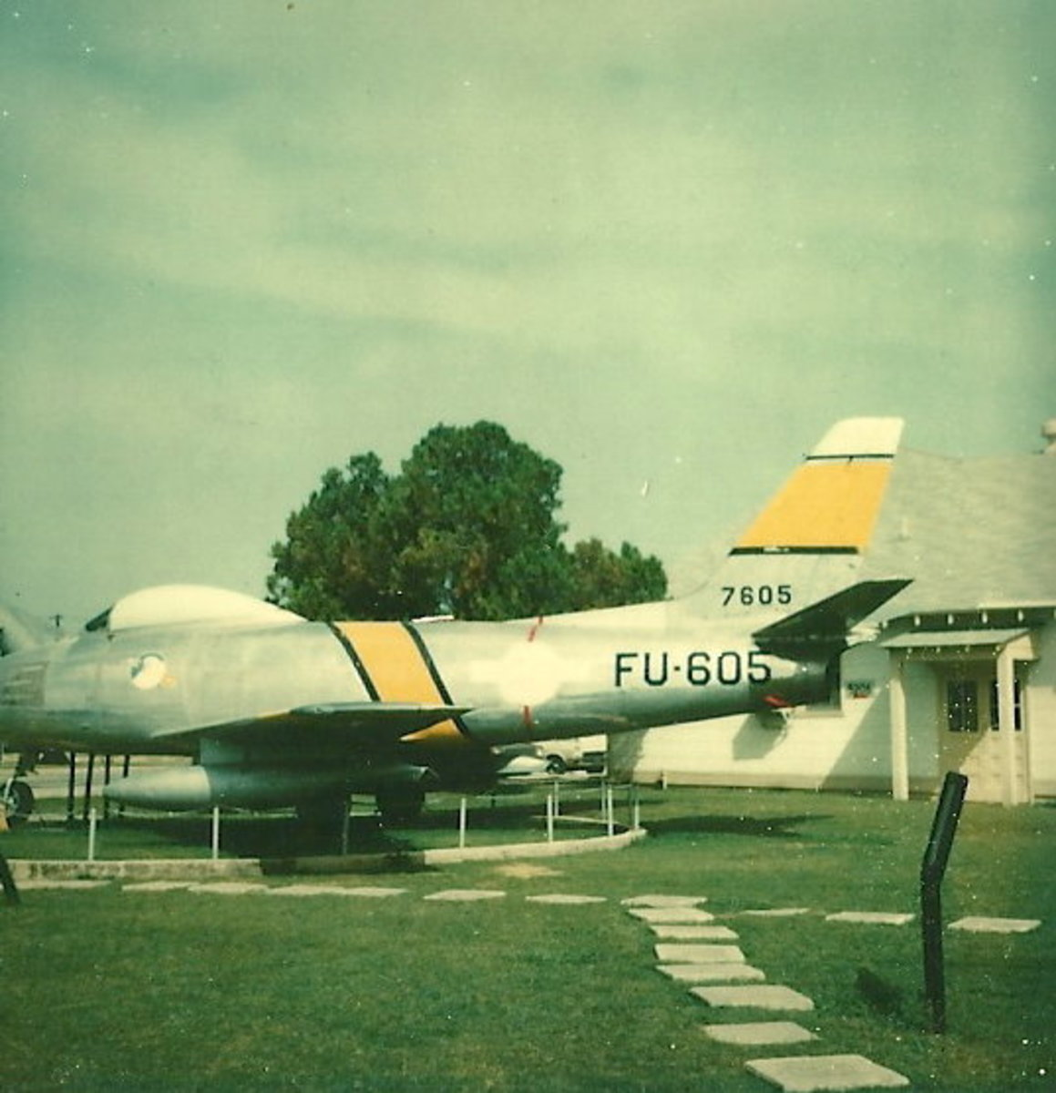 An F-86 on static display, Lackland AFB, Texas, circa 1978.