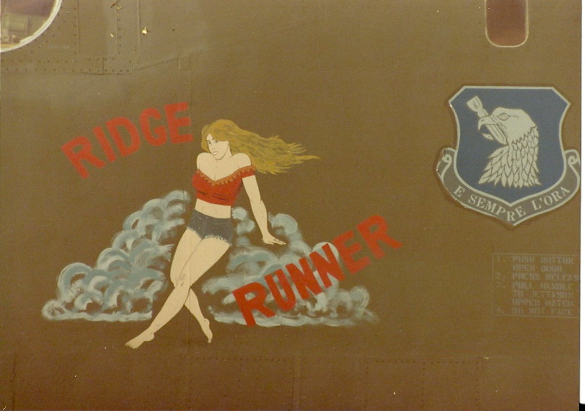 A B-52 with the nose art Ridge Runner.