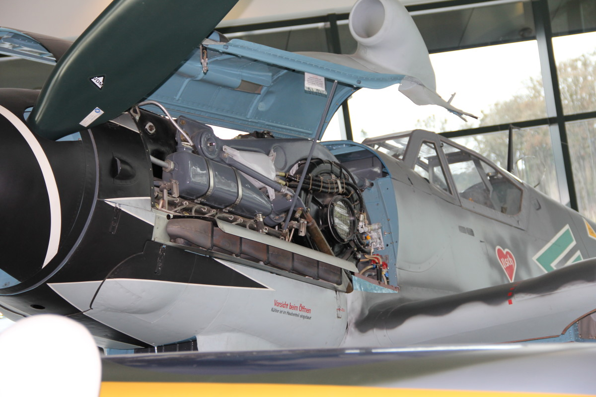 A Bf 109 with the paint scheme of Erich Hartmann's aircraft at the Evergreen Aviation Museum