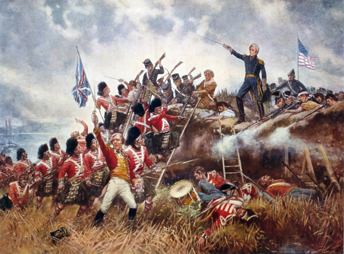 Battle of New Orleans: General Andrew Jackson stands on the parapet of his makeshift defenses as his troops repulse attacking British.