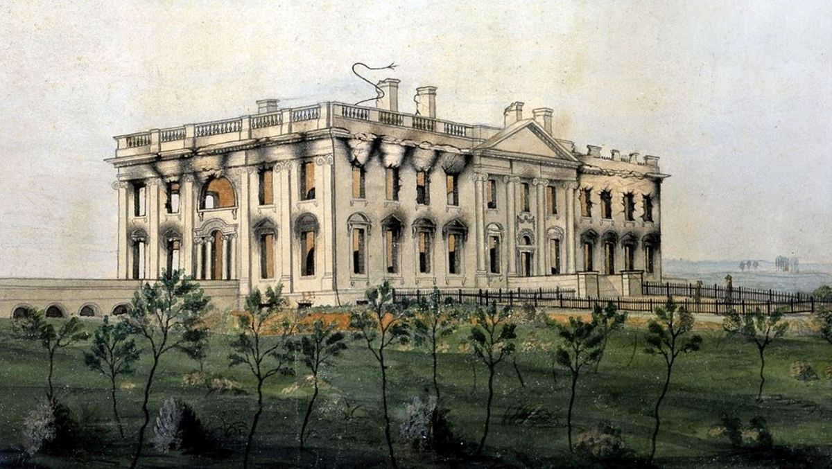 """The President's House"". Cira 1814-1815. by George Munger. The painting shows the burnt out shell of the President's House after it was nearly burn't down by the British."