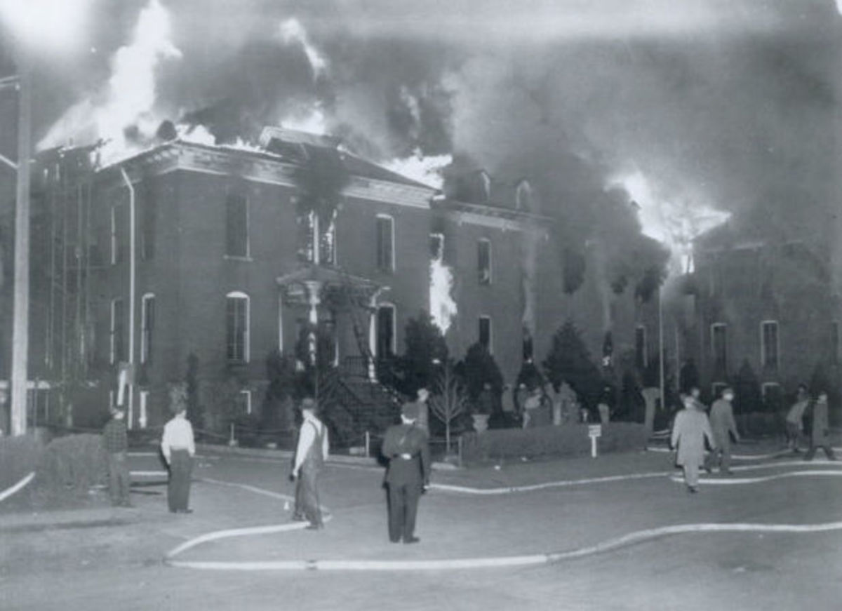 St. Anthony Hospital on fire, April 4, 1949.