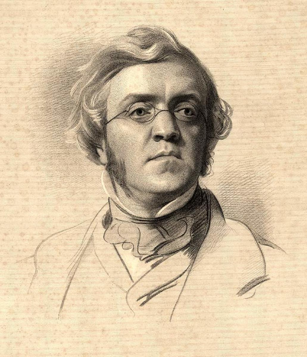William Makepeace Thackeray. Most of the images of the writer make him look as though he has a nasty smell under his nose.