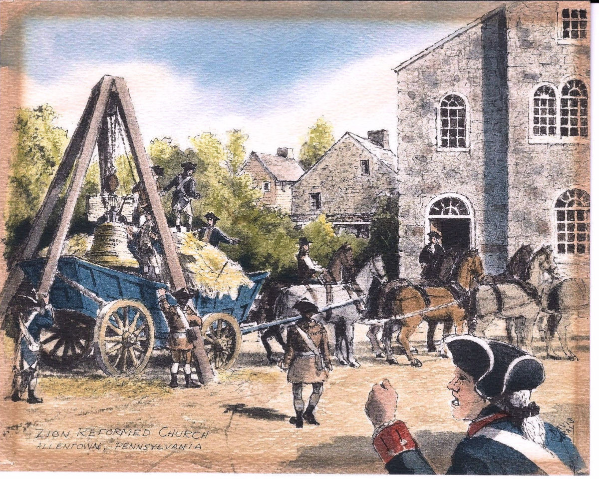 Reproduction of a watercolor by Davis Gray of the arrival of the Liberty Bell at Zions Church, in Northampton Towne, (later Allentown) Pennsylvania on 24 September 1777. (Holdings of the Lehigh County Historical Society)