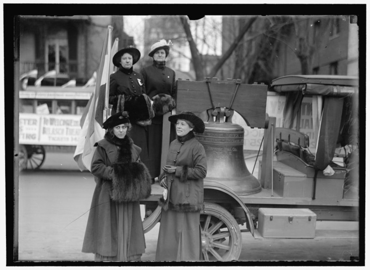 Taken in 1916, this photo shows the replica Liberty Bell created for Woman Suffrage. The photo is courtesy of the Library of Congress.