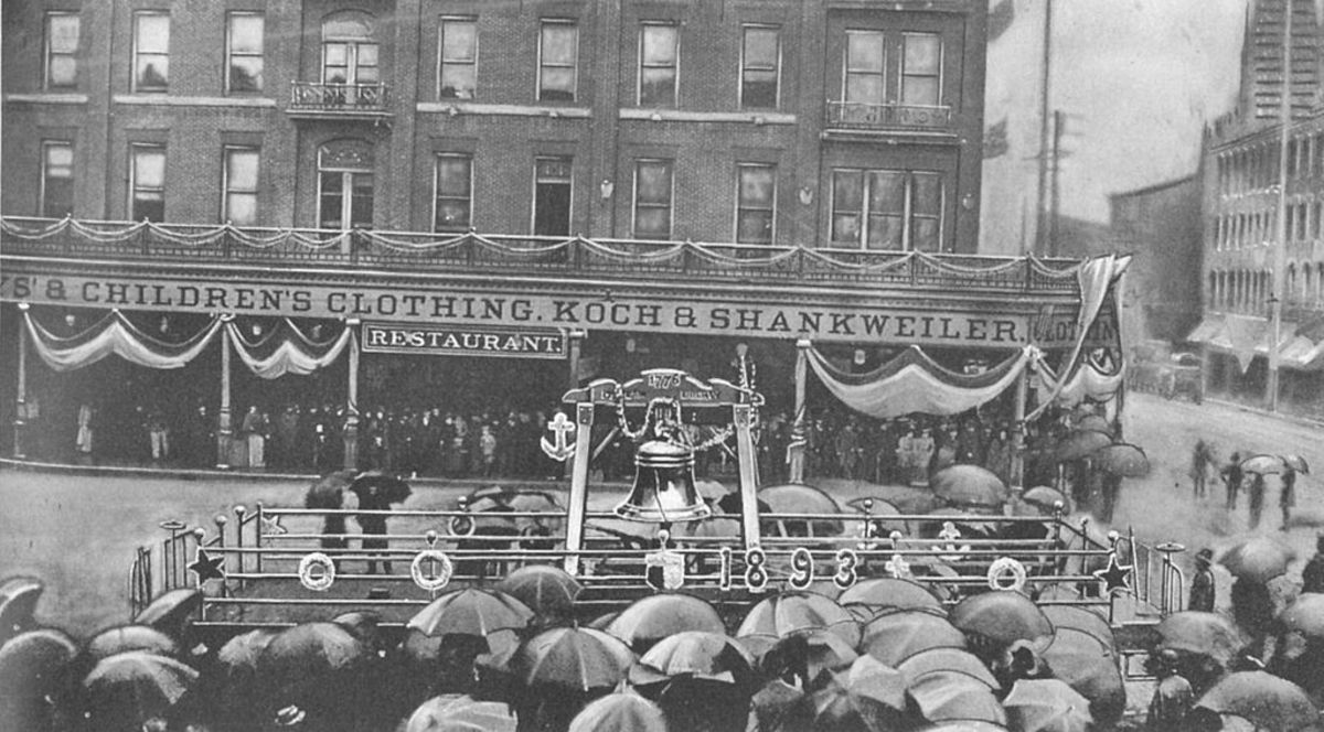 The Liberty Bell returns from tour in 1893 and is shown here in Allentown, PA.