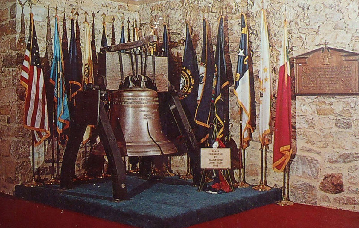 The Liberty Bell Shrine, with a replica of the Liberty Bell. The shrine is located in the basement of Zion's Memorial Church, Allentown, Pennsylvania.