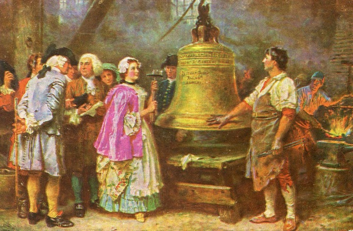 "A colorized reproduction of the historical painting ""The Bell's First Note"" by Jean Leon Gerome Ferris. The original was believed to be created on September 30, 1913."