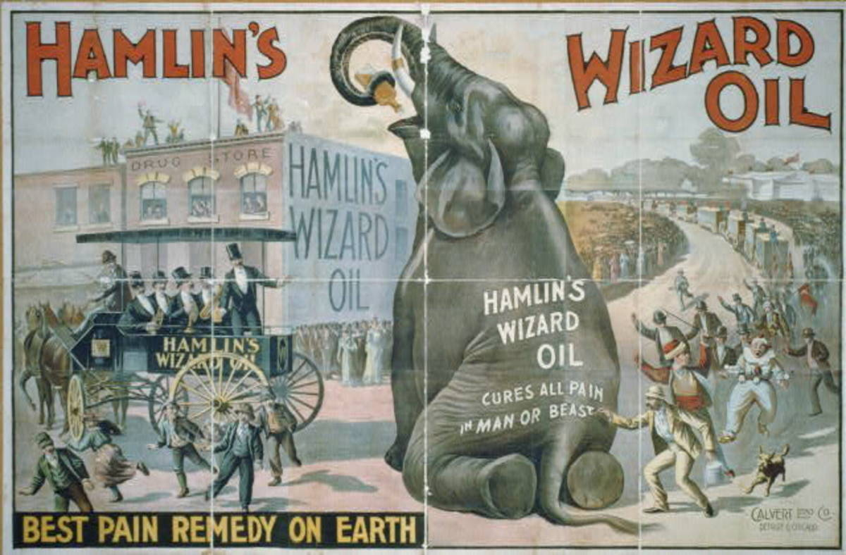 Hamlin's Wizard Oil was widely distributed throughout the USA through exciting medicine shows. Fortunately, this oil was relatively harmless when compared to other patent medicines of the era.