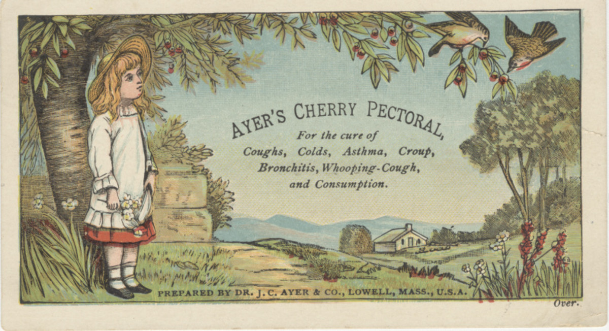 Marketed as a cough syrup, Ayer's Cherry Pectoral contained either morphine or heroin, depending on the list of ingredients referenced.