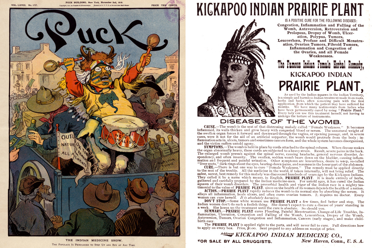 "A medicine show put on by the Kickapoo Indian Company attempts to sell ""Outlook Tonic"" to bystanders on a national tour."