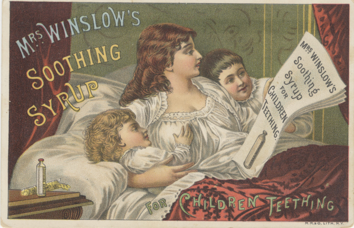 Mrs. Winslow's Soothing Syrup is one of the tragedies from the era of patent medicine. An unknown number of babies were killed by a large dose of morphine in the elixir.