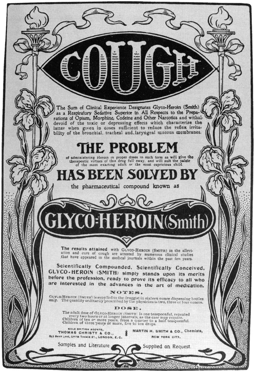 Bayer's heroin was sold for use in compounding cough medicines. The addictive nature of heroin was quickly discovered and the drug was banned in 1924 from the USA.