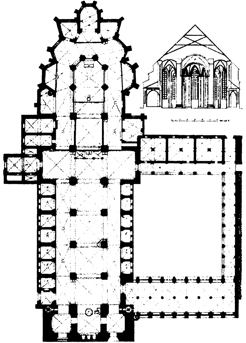 Plan of the Lübeck Cathedral before 1878, before exposure of the Nordervorhalle. In the south still in 1890 broken off in favor of the museum's new monastery