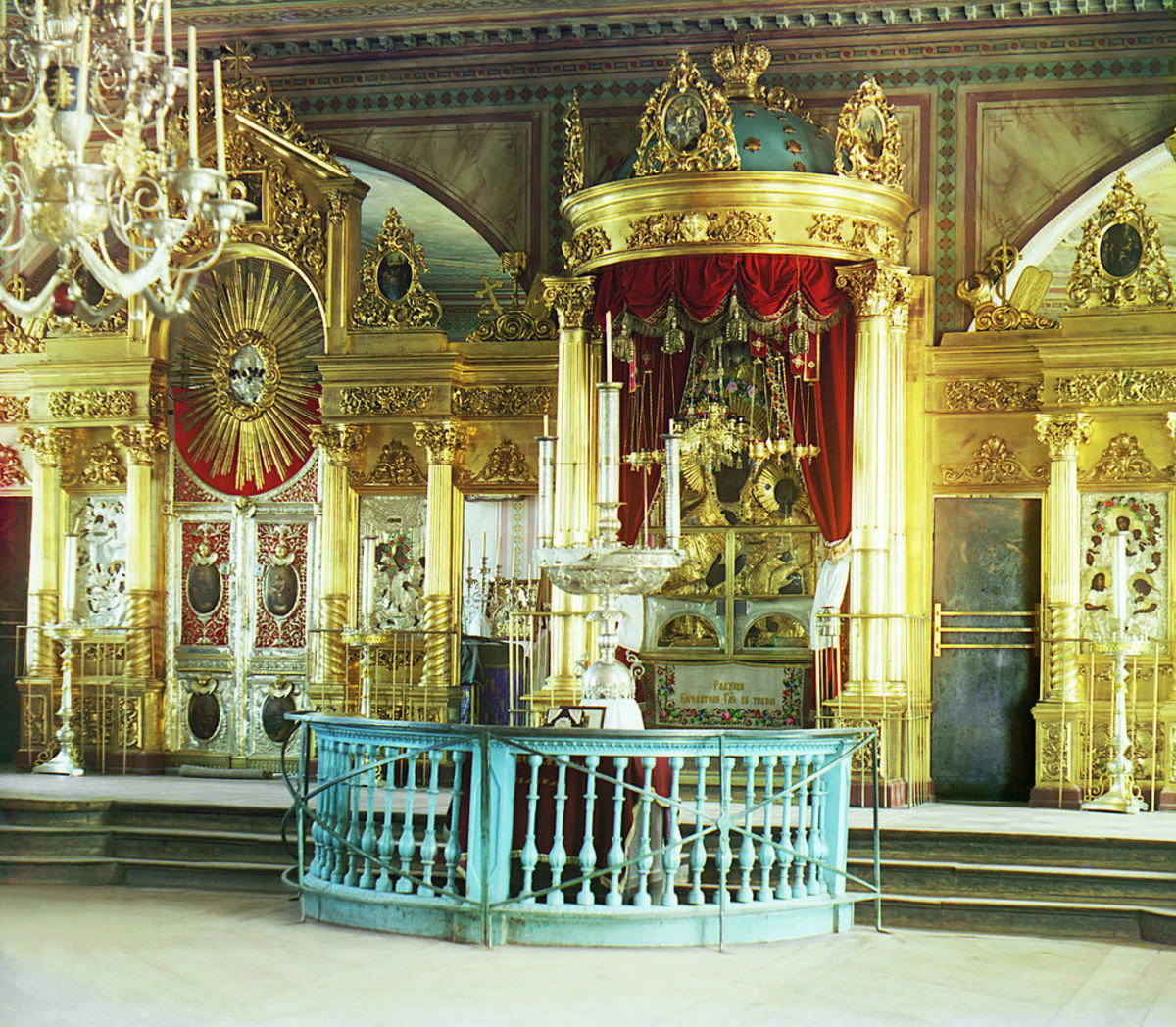 Bema in an Eastern Orthodox church, with three steps leading up to it. Assumption Cathedral in Smolensk, western Russia
