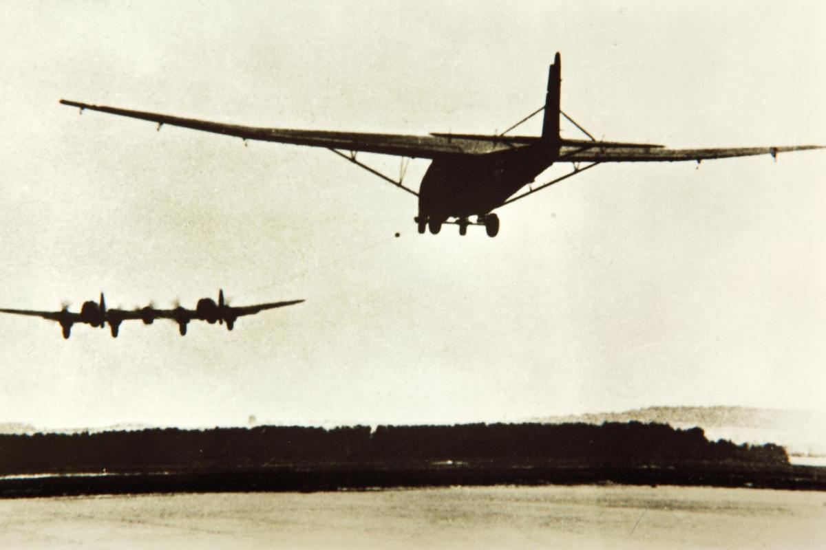 An He 111Z towing an Me 321 glider.