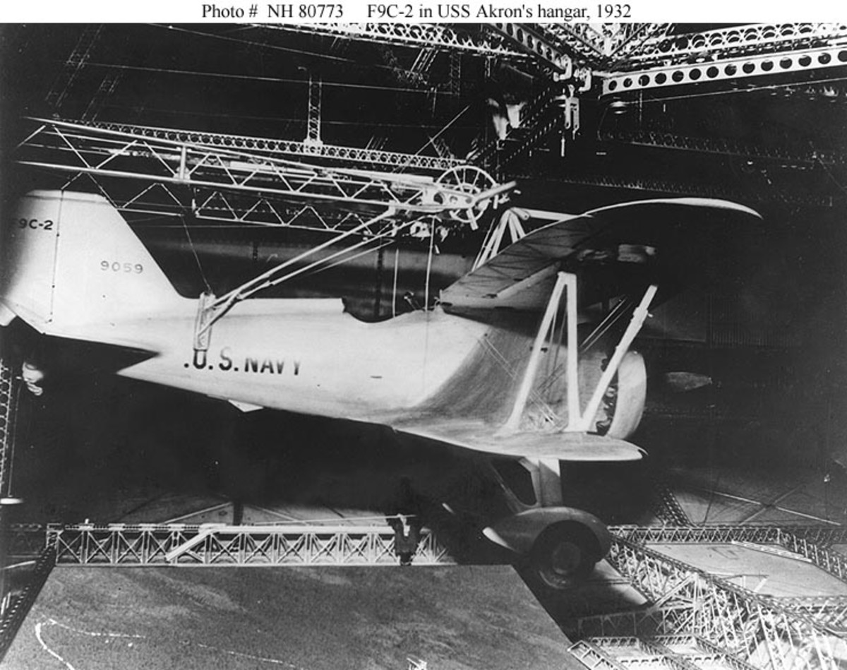 A parasite aircraft inside the USS Akron, 1932.