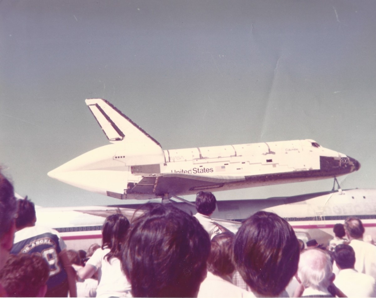 The Space Shuttle Columbia attached to a Boeing 747 at Kelly AFB, March 22, 1979.