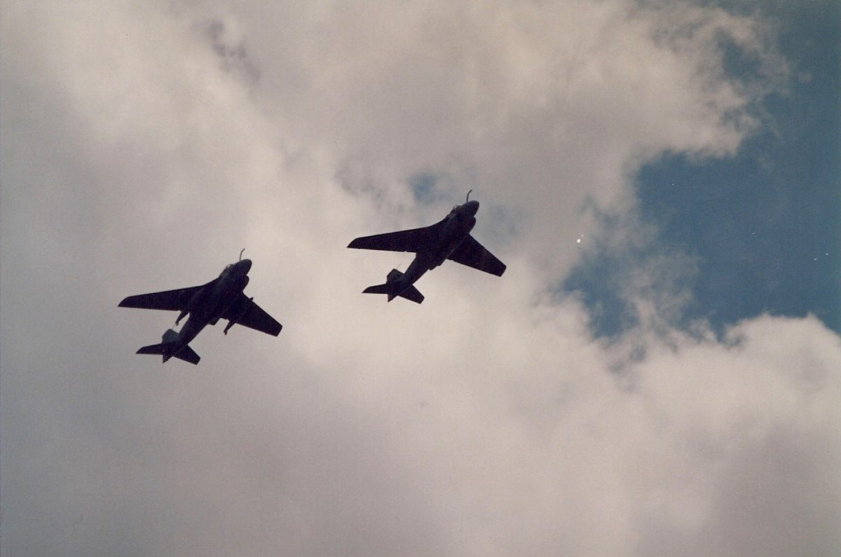Two U.S. Navy A-6Bs equipped with refueling probes.  Over Washington, DC June 1991.