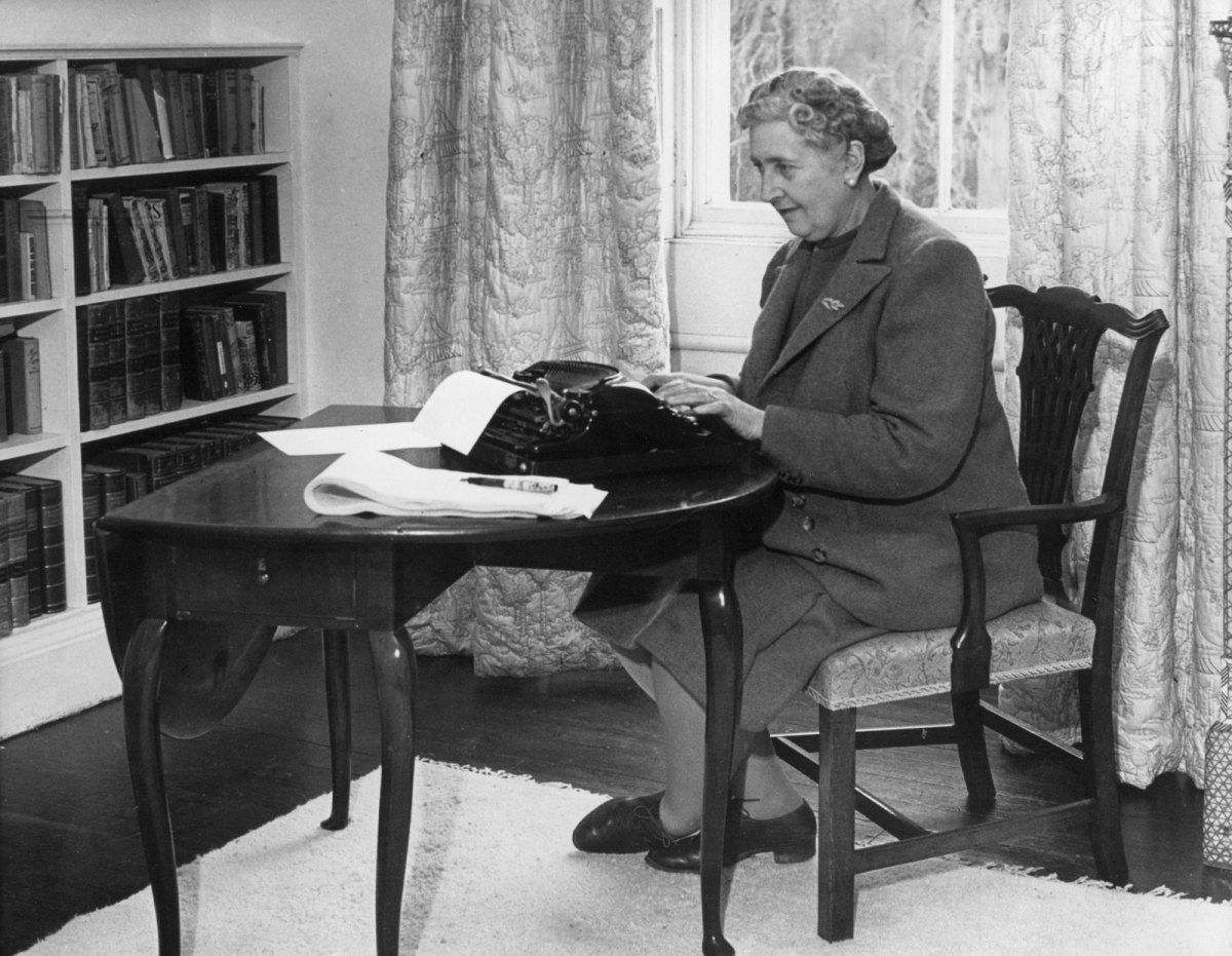 Agatha Christie working in her home