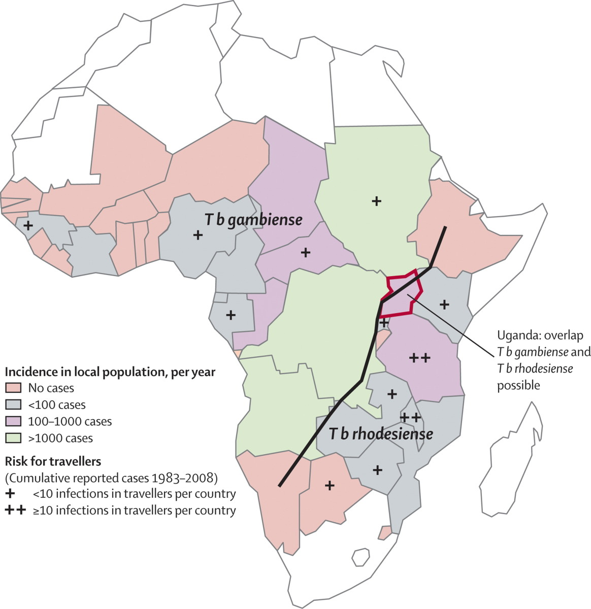 Spatial distribution of East African (T. b. rhodesiense) and West African (T. b. gambiense) sleeping sickness