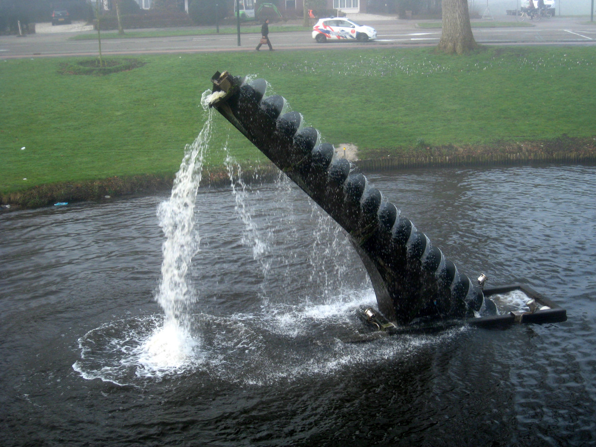 Archimedes screw as a piece of sculpture in the Netherlands demonstrating its function - photo by Polleket