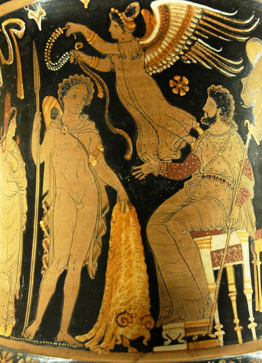 Jason brings Pelias the Golden Fleece; a winged victory prepares to crown him with a wreath. These images found on an ancient Roman vase