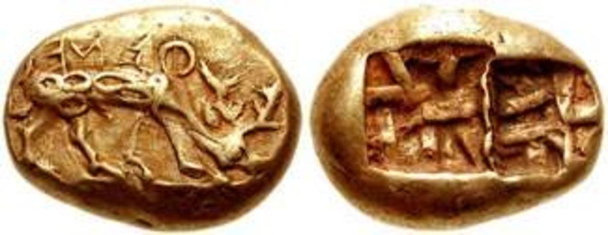 Electrum coin from Ephesus, 620-600 BC, known as Phanes' coin. Obverse: Stag grazing