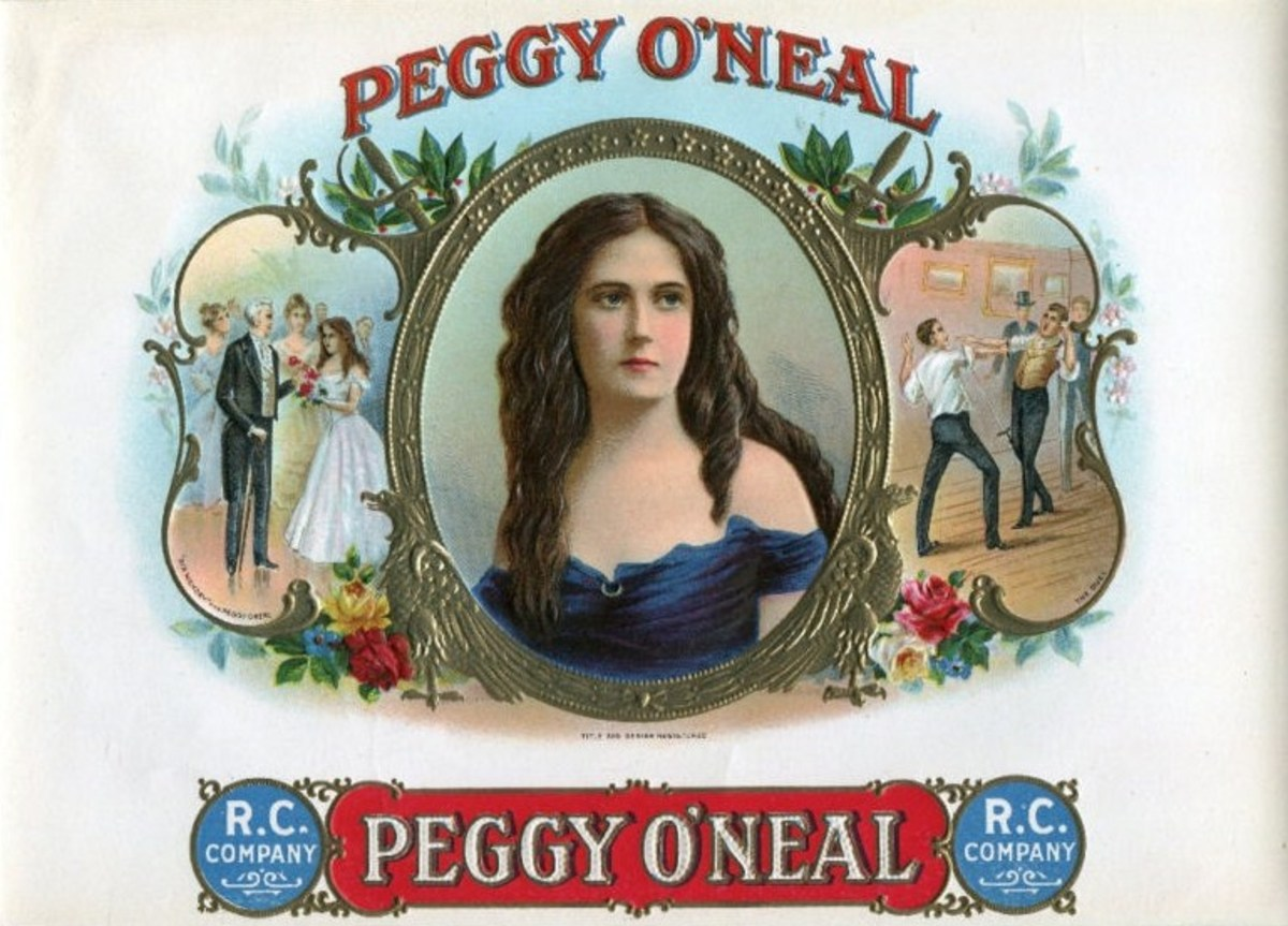 A colorful cigar box label shows President Jackson introduced to Peggy O'Neal (left) and two lovers fighting a duel over her (right).