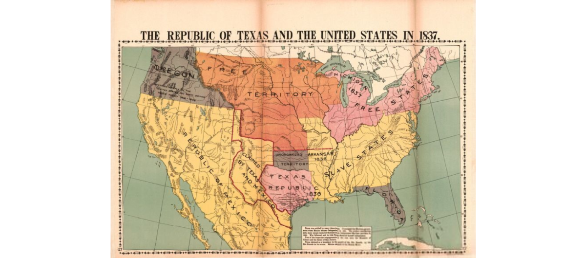 Map of the Untied States in 1837.