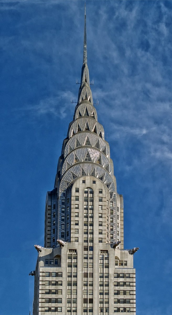 The Chrysler Building's infamous stainless steel dome topped by the 185-foot spire